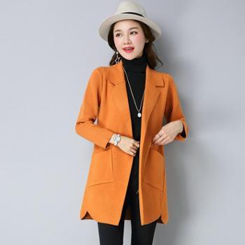 施悦名女式毛衣外套中长款针织大衣纯色开衫