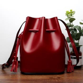 施悦名新品韩版水桶包真皮女包大容量牛皮简约撞色单肩斜挎女士包包