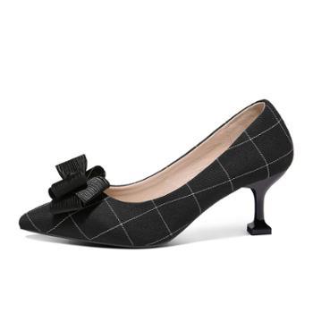 施悦名2018春秋新款蝴蝶结尖头黑单鞋女细跟工作玛丽珍女鞋