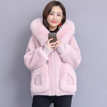 施悦名2018冬时尚新款狐狸毛皮草外套海宁羊剪绒羊毛大衣短款