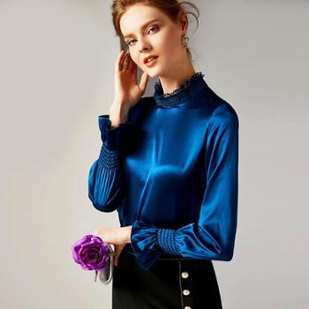 施悦名2019早春女装新款时尚立领长袖纯色真丝缎喇叭袖修身上衣女