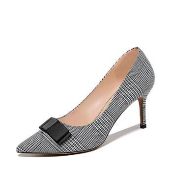 施悦名2019春季新款女鞋高跟细跟单鞋浅口尖头蝴蝶结格子布
