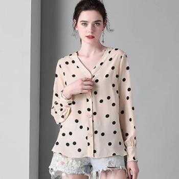 复古优雅女装宽松重磅真丝衬衫桑蚕丝上衣夏装新款波点衬衣