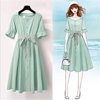 棉麻连衣裙女夏季方领超仙度假牛油果绿中长款甜美裙子