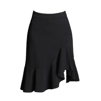 黑色简约不规则鱼尾裙包臀裙性感韩版显瘦一步裙半身裙女
