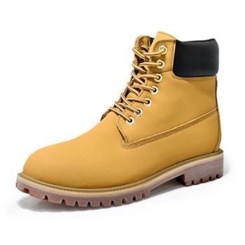 冬季保暖加绒高帮鞋马丁靴英伦中帮工装靴棉鞋拉链情侣鞋大黄靴子