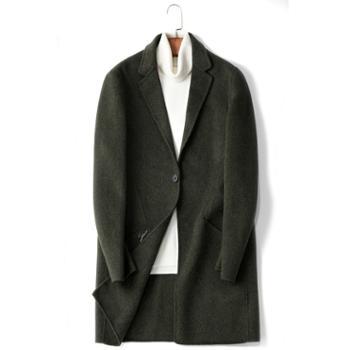 新款冬季毛呢大衣男中长款修身双面呢子外套羊绒衣潮