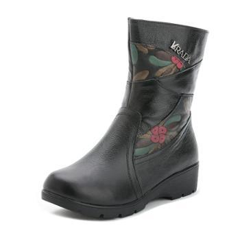 秋冬欧美妈妈棉鞋中老年平底坡跟中筒女靴真皮保暖马丁靴