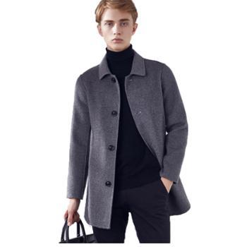 2019冬男士双面呢纯羊毛中长款大衣韩版时尚外套男装