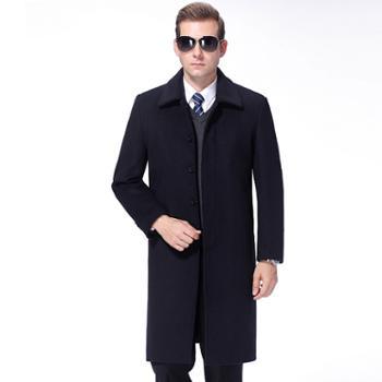 新款中老年男士中长款羊绒外套加长加厚男式毛呢大衣绅士服装