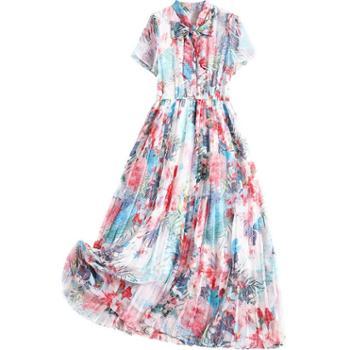 夏季时尚新款雪纺圆领松紧腰连衣裙