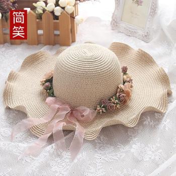 韩版女士帽子 大沿防晒草帽 户外出游遮阳帽 波浪花环太阳帽