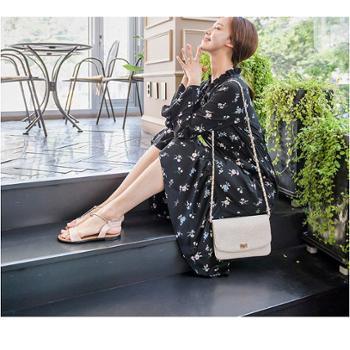 2017秋季新款韩版女装长袖印花连衣裙中长款碎花女裙