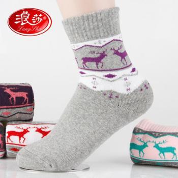 6双装浪莎袜子女款纯棉冬季毛圈袜 加厚保暖毛巾袜短筒棉袜