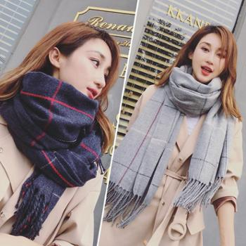 韩版秋冬格子仿羊绒两用大披肩双面百搭学生围脖加长保暖围巾