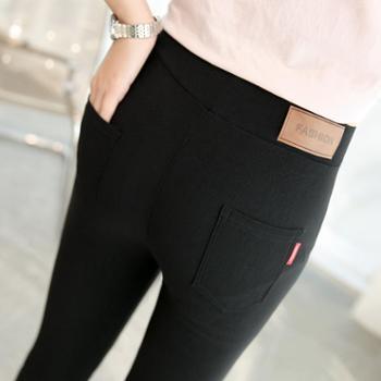 女士薄款贴皮梭织打底裤外穿黑色弹力九分小脚裤子