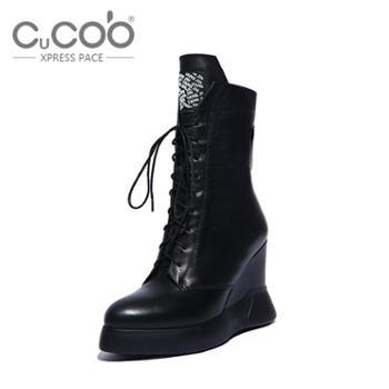 库奇卡勃2015秋季新款真皮马丁靴坡跟短靴女短筒内增高系带鞋女