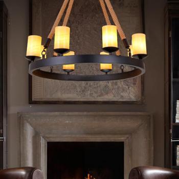 美式乡村复古工业风餐厅客厅咖啡厅吧台麻绳吊灯创意个性铁艺灯具