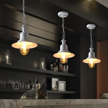单头餐厅吊灯铁艺复古工业阳台灯书房过道吊灯酒吧台美式乡村灯具