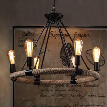 美式乡村复古铁艺麻绳吊灯餐厅灯创意个性艺术吊灯咖啡馆客厅灯具