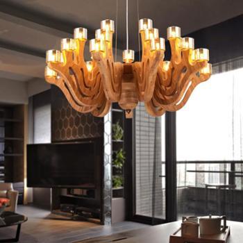 新中式实木led吊灯客厅灯时尚大气创意个性餐厅书房卧室吊灯美式