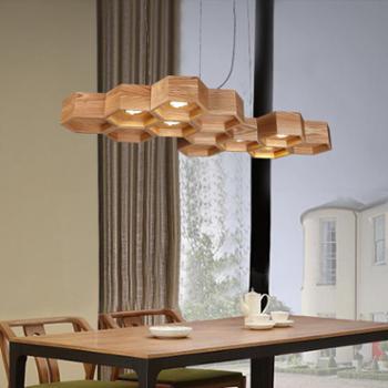 高比灯具 创意个性蜂巢led吊灯 客厅餐厅酒吧台咖啡馆饭厅实木吊灯美式灯具
