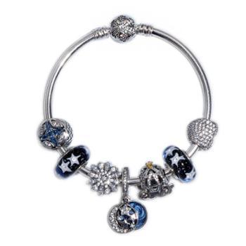 潘多拉(PANDORA)手链 925银女士手链手镯 海洋之心 串珠成品套装套组45