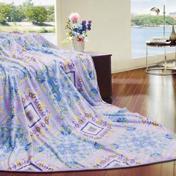 富安娜 法兰绒毯水墨江南1.5M*2M冬季毛毯午睡沙发盖毯 双人毯子