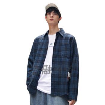 韩路男装翻领格子棉质衬衫F285
