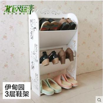 欧式创意白色多层ikea防尘进门倾斜鞋架收纳鞋架三层鞋柜