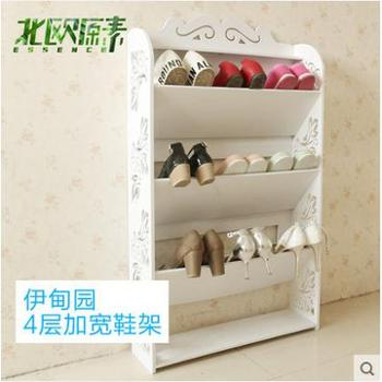 特价欧式创意白色多层ikea防尘进门倾斜鞋架收纳鞋架四层加宽鞋柜
