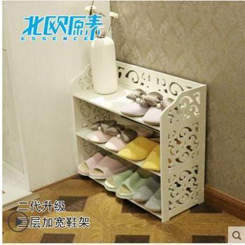 特价简易鞋架现代简约非全实木白色多层防尘窄鞋架三层加宽简易鞋柜