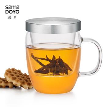 尚明玻璃杯耐热带盖过滤花茶办公泡茶杯果汁牛奶水杯子玻璃内胆