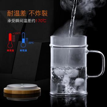 尚明楠竹盖月牙杯绿茶杯耐热玻璃泡茶杯过滤办公室水杯花茶杯带把