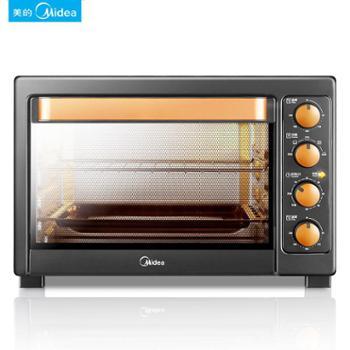 Midea/美的 家用电烤箱烘焙38L大容量多功能独立控温电烤箱 T3-L385C