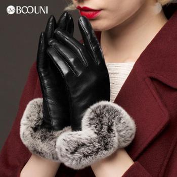 柏欧尼新款触屏皮手套女士冬保暖手套保暖防寒獭兔毛真皮手套