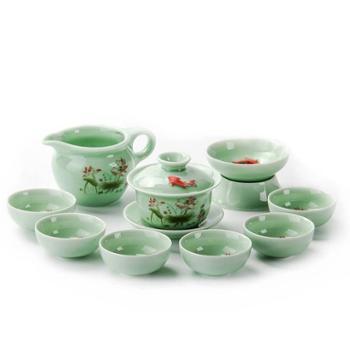 聚森 青瓷陶瓷手绘鱼茶具套装梅子青茶壶盖碗 高档礼品茶具