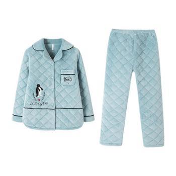 菲蜜莉新款睡衣女冬珊瑚绒韩版小翻领甜美家居服长袖套装