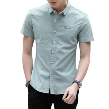 玛狮路新款休闲舒适衬衫男 青年透气吸汗短袖男衬衫