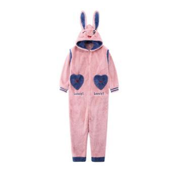菲蜜莉珊瑚绒睡衣女秋冬可爱兔耳朵连体裤保暖加厚家居服套装