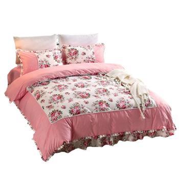 乔凡娜 时尚田园公主风斜纹1.51.8m双人床裙被套床上用品四件套