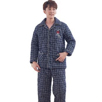 菲蜜莉珊瑚绒睡衣男秋冬国民领开衫贝贝绒三层夹棉加厚保暖家居服