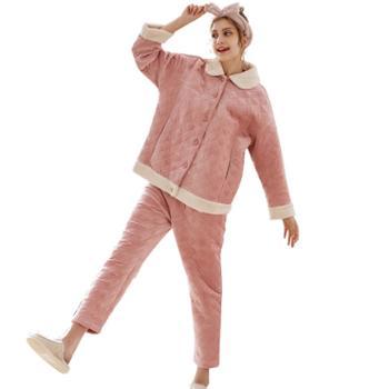 菲蜜莉秋冬珊瑚绒睡衣女简约甜美开衫保暖可外穿家居服套装
