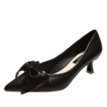 淇路缘高跟鞋女细跟时尚女鞋浅口性感尖头单鞋