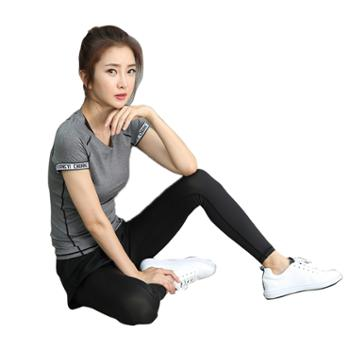 派衣阁韩版短袖瑜珈服两件套T1035
