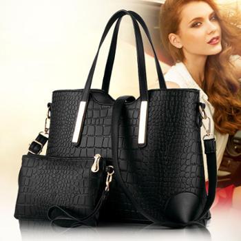 新款女包单肩斜跨包女士休闲手提包手拎时尚鳄鱼纹大包 A RRT150934