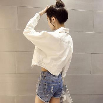 韩版女装白色牛仔短外套2017春装新款女时尚韩国潮小短款宽松夹克