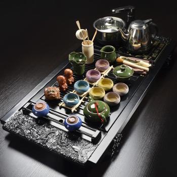 甲馨茶具套装整套家用紫砂功夫茶具四合一电热炉实木茶盘 套装