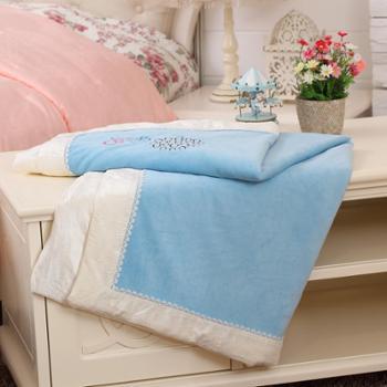 铭日婴幼儿童卡通竹丝真丝绒被套被罩床上用品三色可选