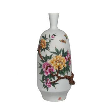 4500元个性化定制·富贵吉祥粉彩捏雕花瓶